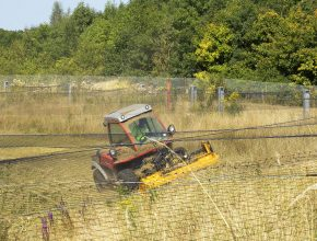 Mowing attenuation ponds at Gatwick